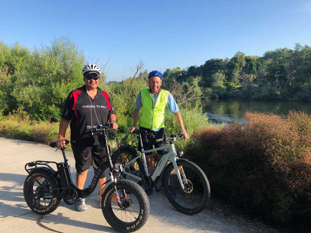 Co-chairs Roger Pikia and Hon John Luxton bike to the  Waikato River Authority Climate Change Workshop, December 12, 2019